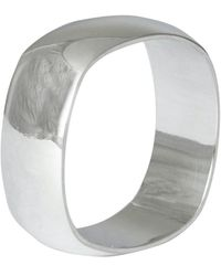 Edge Only 9ct White Gold Squared Off Ring 8mm Mens Wide D Shape Wedding Ring