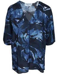 Haris Cotton Printed Viscose Blouse With Front Pleat - Blue