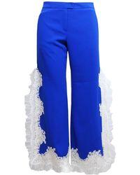 SAKU New York - Lace Trimmed Side Slit Pants Cobalt Blue - Lyst