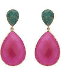 Carousel Jewels - Double Drop Amazonite & Fuchsia Chalcedony Earrings - Lyst