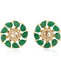 Artisan - 18k Gold Diamond And Emerald Stud Earring - Lyst