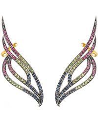 Latelita Phoenix Ear Climber Ruby Sapphire Tsavorite Gold - Metallic