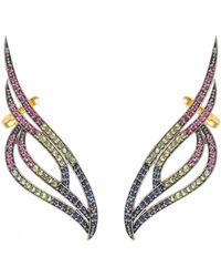LÁTELITA London Phoenix Ear Climber Ruby Sapphire Tsavorite Gold - Metallic