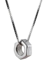 Edge Only Hex Nut Pendant Large Long - Metallic