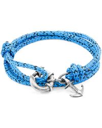 Anchor & Crew - Blue Noir Clyde Anchor Silver & Rope Bracelet - Lyst