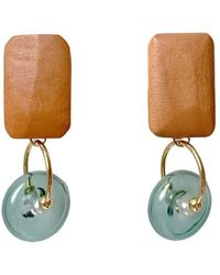 Paisie Geometric Pine Wood Earrings In Brown & Blue