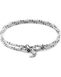 Anchor & Crew - Black Brighton Silver & Rope Bracelet - Lyst