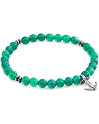 Anchor & Crew Green Agate Starboard Silver & Stone Bracelet
