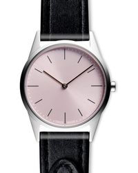 Uniform Wares Women's C33 Two-hand Watch In Polished Steel With Tapered Black Nappa Leather Strap - Metallic