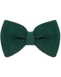 40 Colori Pine Solid Silk Knitted Bow Tie - Green