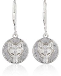 Alexa K - Silver Wolf Disc Earrings - Lyst
