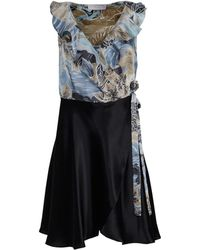 Roses Are Red - Renee Silk Dress In Blue Floral And Black - Lyst