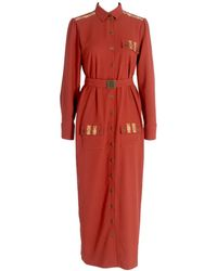 relax baby be cool Long Sleeve Button Up Shirt Dress With Pockets Burgundy - Red