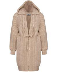 Nocturne Hooded Knit Cardigan-beige - Natural