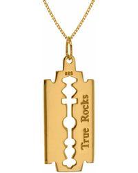 True Rocks 18kt Gold-plated Mini Razor Blade Pendant - Metallic