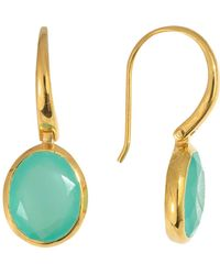 Juvi Designs - Silver Cocoa Pod Tulum Earrings With Aqua Chalcedony - Lyst