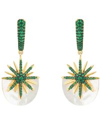 LÁTELITA London Sunburst White Mother Of Pearl Earrings Emerald Green Gold