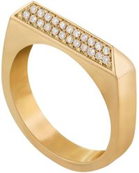 Edge Only 14ct Gold Double Diamond Rooftop Ring - Metallic
