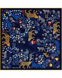 Jessie Zhao New York Silk Scarf In Blue With Leopard & Flowers