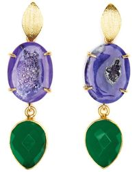 Magpie Rose Purple Agate & Green Onyx Cocktail Earrings
