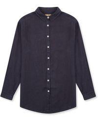Burrows and Hare Women's Linen Shirt - Blue