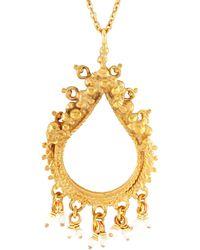 Annabelle Lucilla Jewellery Sikhara Charm Pearl Pendant Gold - Metallic