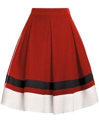 Rumour London Bella Red Silk Flared Skirt