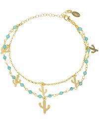 LÁTELITA London Turquoise Cactus Double Strand Bracelet Gold - Metallic