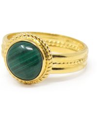 Vintouch Italy Fascetta Gold-plated Mini Malachite Ring - Green