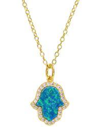 KAMARIA Opal Hamsa Hand Necklace In Blue Opal