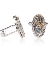 LC COLLECTION - Hamilton Art Deco Watch Movement Cufflinks With Decorated Metal Silver - Lyst
