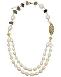 Farra - Freshwater Pearls With Smoky Quartz Double Strands Necklace - Lyst