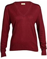 Asneh Mathilda Cabernet Cashmere V Neck Sweater In Fine Knit - Brown