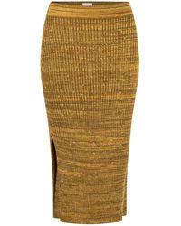 STUDIO MYR Autumn Dew Calf Length Knitted Pencil Skirt With Sparkles - Metallic