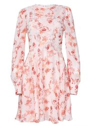True Decadence Peach Spring Floral Lace Up Front Mini Dress - White