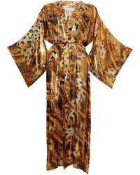 Roses Are Red Silk Kimono In Gold - Metallic