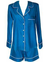 StephieAnn Organic Cotton Navy Pajamas With Pants - Blue