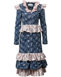 Vivienne Hu Embroidered Denim Dress With Lace Ruffle