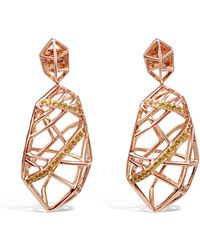 Bellus Domina Gold Plated Crossover Citrine Earrings - Metallic