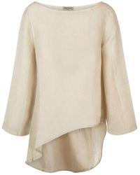 Haris Cotton - Linen Gauze Asymmetrical Long Sleeves Blouse - Lyst