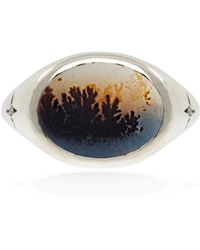 No 13 - Agate & Diamond Horizontal Signet Ring – Silver - Lyst