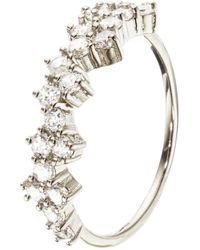 Lily & Roo Silver Diamond Style Cluster Ring - Metallic