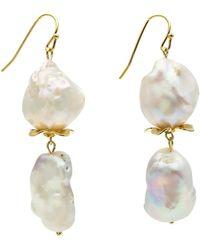 Farra Baroque Freshwater Pearls Dangle Earrings - White