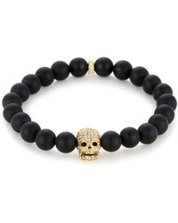 Northskull Matte Black Onyx / Gold & Clear Crystal Skull Bracelet - Metallic