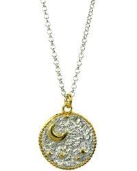 Annabelle Lucilla Jewellery Night's Sky Coin Pendant Silver & Gold - Metallic