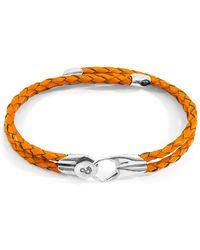 Anchor & Crew Fire Orange Conway Silver & Braided Leather Bracelet - Multicolour