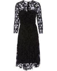 Nissa Embroidered Tulle Dress - Black