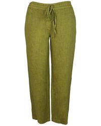 Haris Cotton Wide Legged Linen Pants - Green