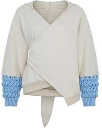 Nocturne Asymmetrical Surplice Sweatshirt - Multicolor