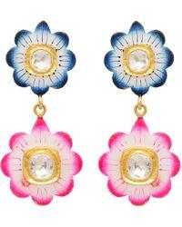 Carousel Jewels - Blue & Pink Floral Enamel Earrings - Lyst